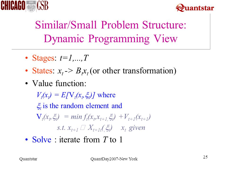 Quantstar QuantDay2007-New York 25 Similar/Small Problem Structure: Dynamic Programming View Stages: t=1,...,T States: x t -> B t x t (or other transf