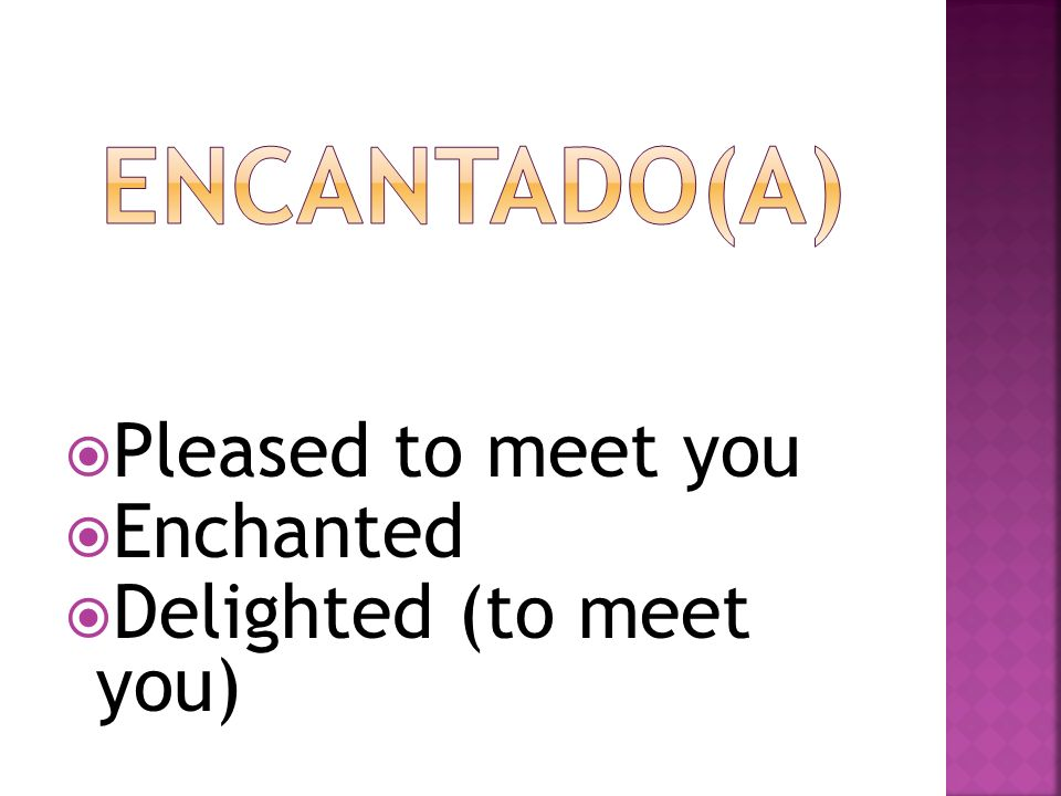 Pleased to meet you Enchanted Delighted (to meet you)