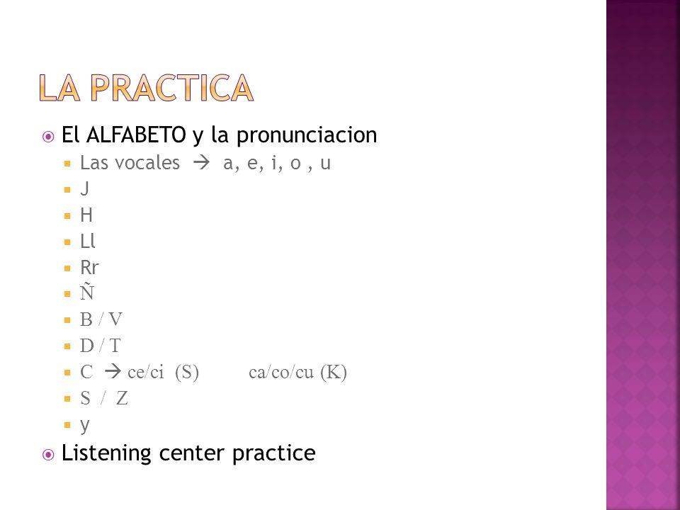 El ALFABETO y la pronunciacion Las vocales a, e, i, o, u J H Ll Rr Ñ B / V D / T C ce/ci (S) ca/co/cu (K) S / Z y Listening center practice
