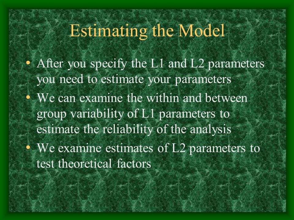 Estimating the Model After you specify the L1 and L2 parameters you need to estimate your parameters We can examine the within and between group varia