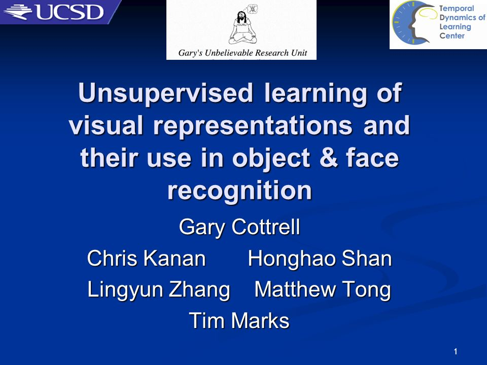 1 Unsupervised learning of visual representations and their use in object & face recognition Gary Cottrell Chris Kanan Honghao Shan Lingyun Zhang Matt