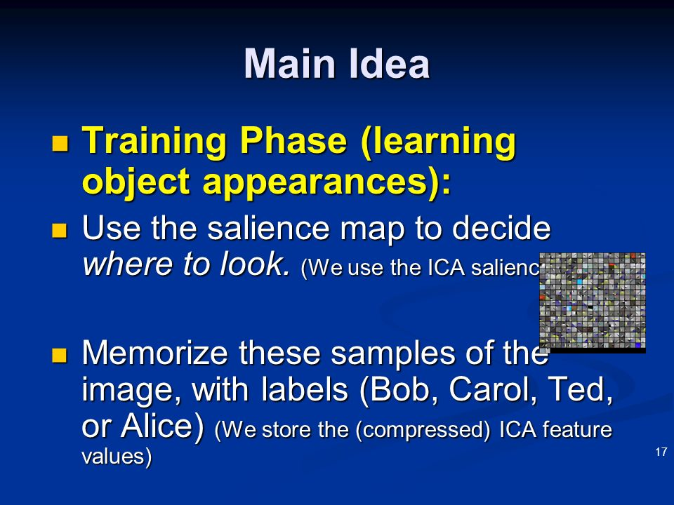 17 Training Phase (learning object appearances): Training Phase (learning object appearances): Use the salience map to decide where to look. (We use t