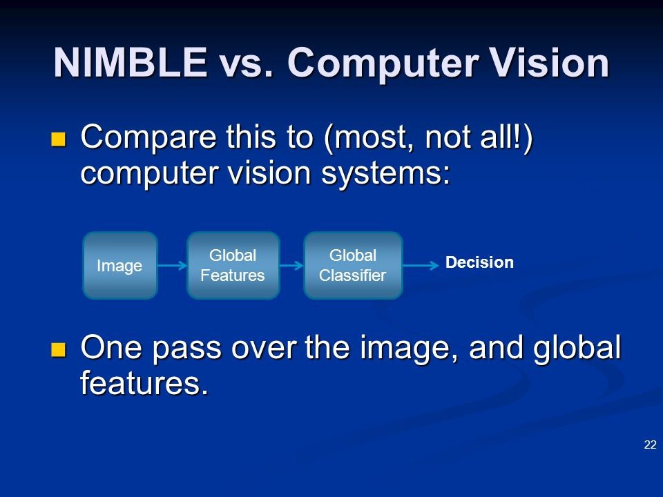 22 Compare this to (most, not all!) computer vision systems: Compare this to (most, not all!) computer vision systems: One pass over the image, and gl