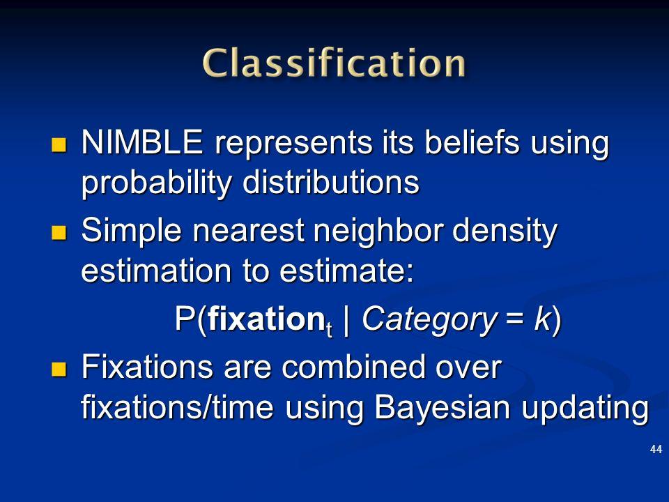 44 NIMBLE represents its beliefs using probability distributions NIMBLE represents its beliefs using probability distributions Simple nearest neighbor