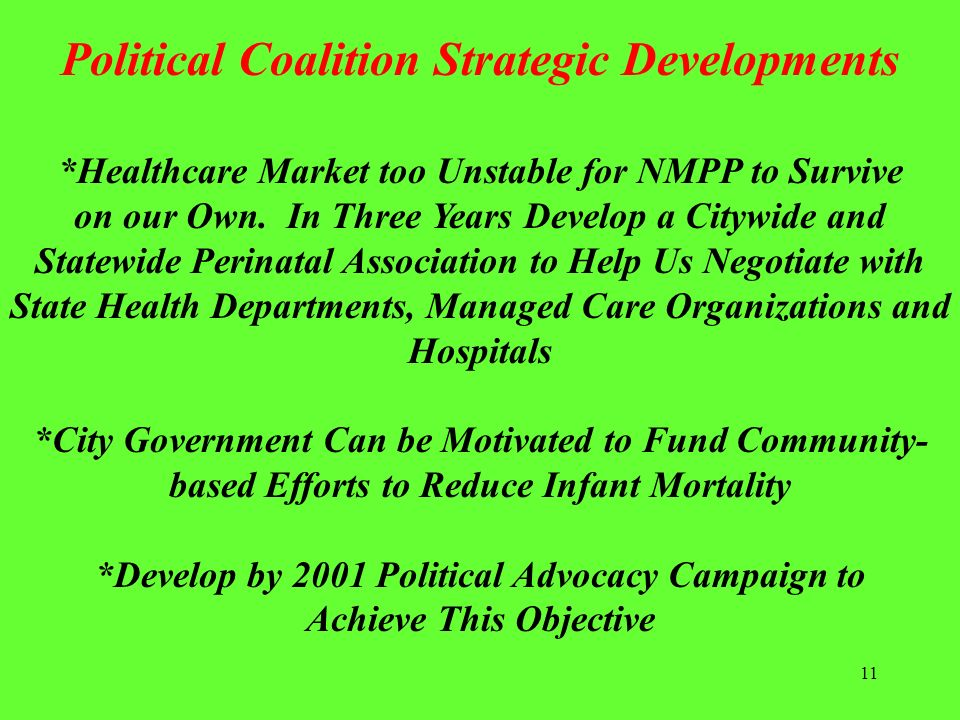 11 *Healthcare Market too Unstable for NMPP to Survive on our Own. In Three Years Develop a Citywide and Statewide Perinatal Association to Help Us Ne