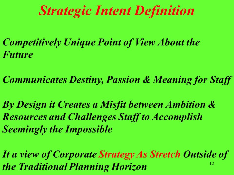 12 Competitively Unique Point of View About the Future Communicates Destiny, Passion & Meaning for Staff By Design it Creates a Misfit between Ambitio