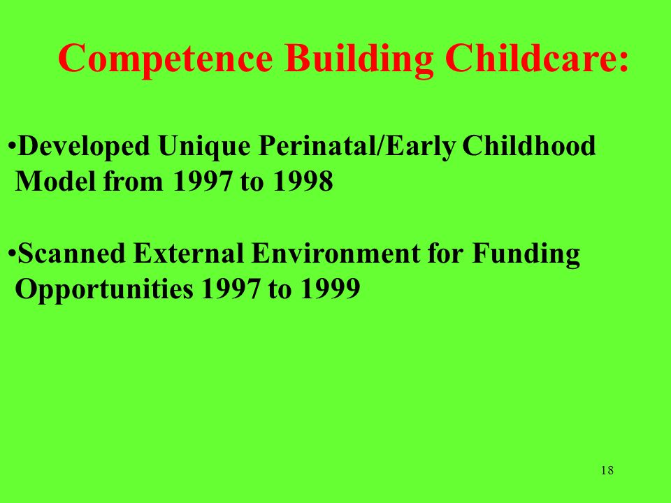 18 Developed Unique Perinatal/Early Childhood Model from 1997 to 1998 Scanned External Environment for Funding Opportunities 1997 to 1999 Competence B
