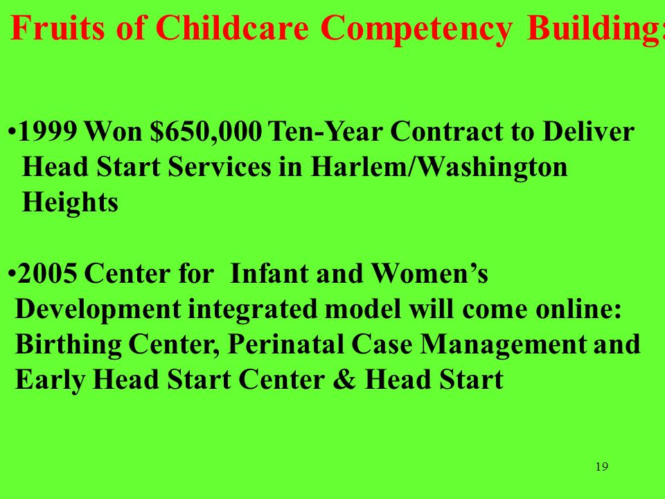 19 1999 Won $650,000 Ten-Year Contract to Deliver Head Start Services in Harlem/Washington Heights 2005 Center for Infant and Womens Development integ