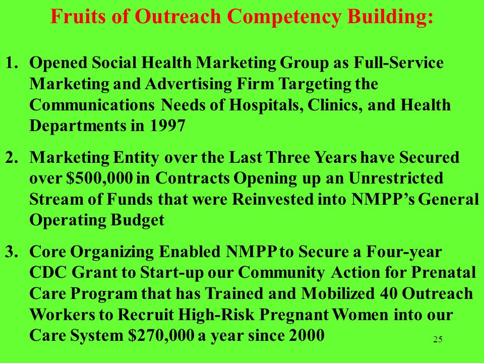 25 Fruits of Outreach Competency Building: 1.Opened Social Health Marketing Group as Full-Service Marketing and Advertising Firm Targeting the Communi