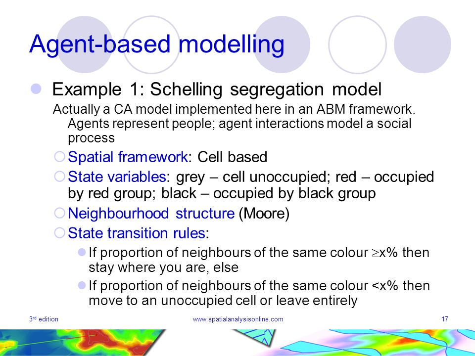 3 rd editionwww.spatialanalysisonline.com17 Agent-based modelling Example 1: Schelling segregation model Actually a CA model implemented here in an AB