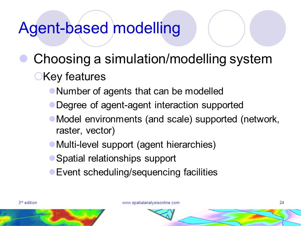 3 rd editionwww.spatialanalysisonline.com24 Agent-based modelling Choosing a simulation/modelling system Key features Number of agents that can be mod