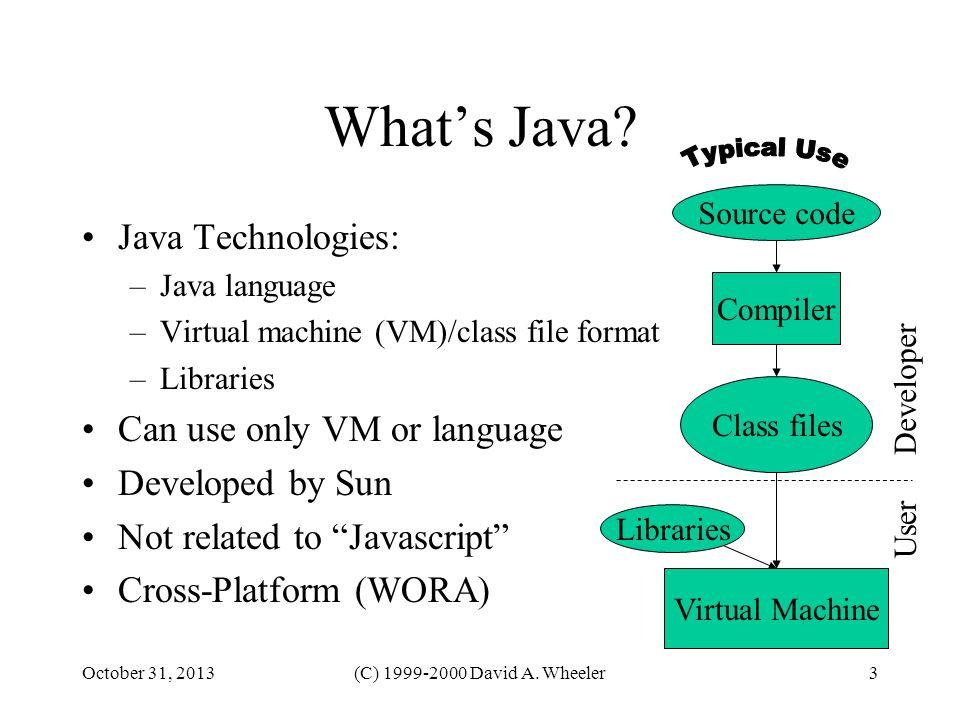 October 31, 2013(C) 1999-2000 David A. Wheeler3 Whats Java? Java Technologies: –Java language –Virtual machine (VM)/class file format –Libraries Can u