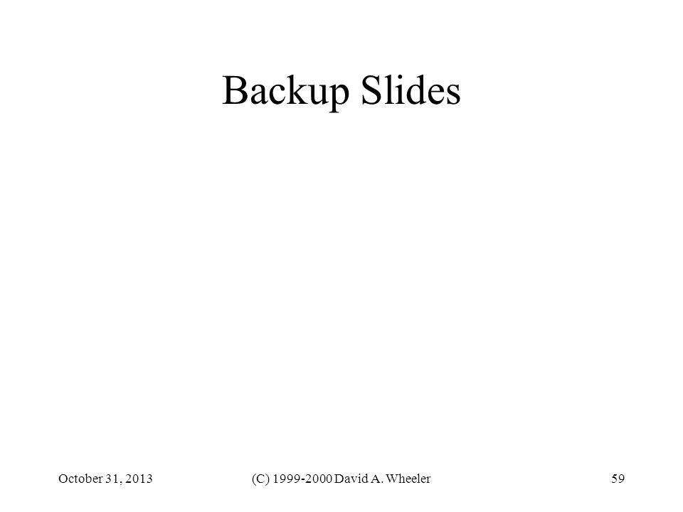 October 31, 2013(C) 1999-2000 David A. Wheeler59 Backup Slides