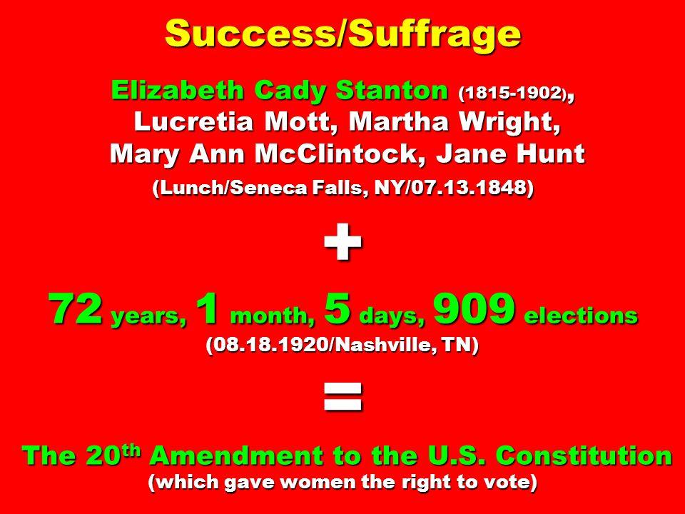 Success/Suffrage Elizabeth Cady Stanton (1815-1902 ), Lucretia Mott, Martha Wright, Mary Ann McClintock, Jane Hunt (Lunch/Seneca Falls, NY/07.13.1848)