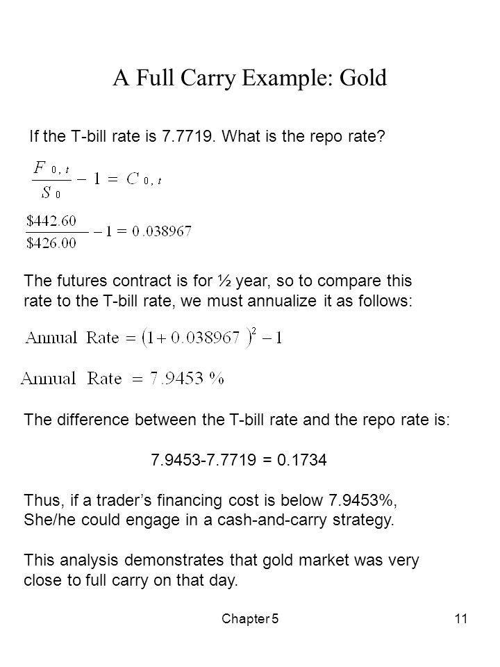Chapter 511 A Full Carry Example: Gold If the T-bill rate is 7.7719. What is the repo rate? The futures contract is for ½ year, so to compare this rat