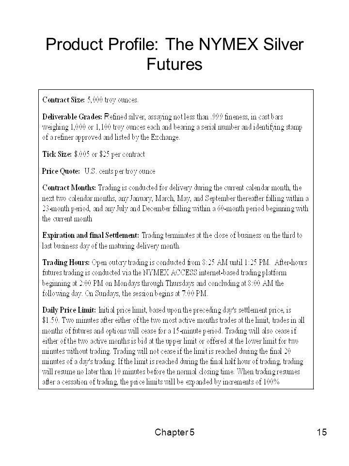 Chapter 515 Product Profile: The NYMEX Silver Futures