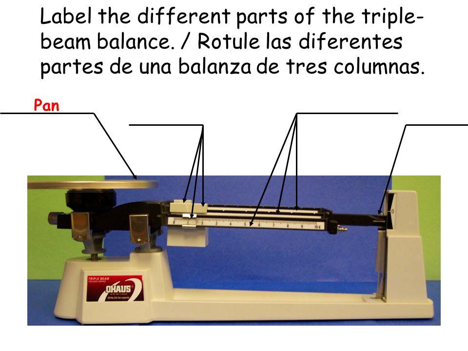 Label the different parts of the triple- beam balance. / Rotule las diferentes partes de una balanza de tres columnas.