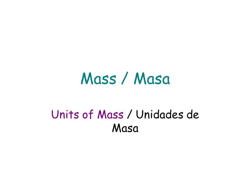 The measure of the amount of matter an object contains / La médida de la cantidad de materia contenida en un objeto Matter / Materia : The material th