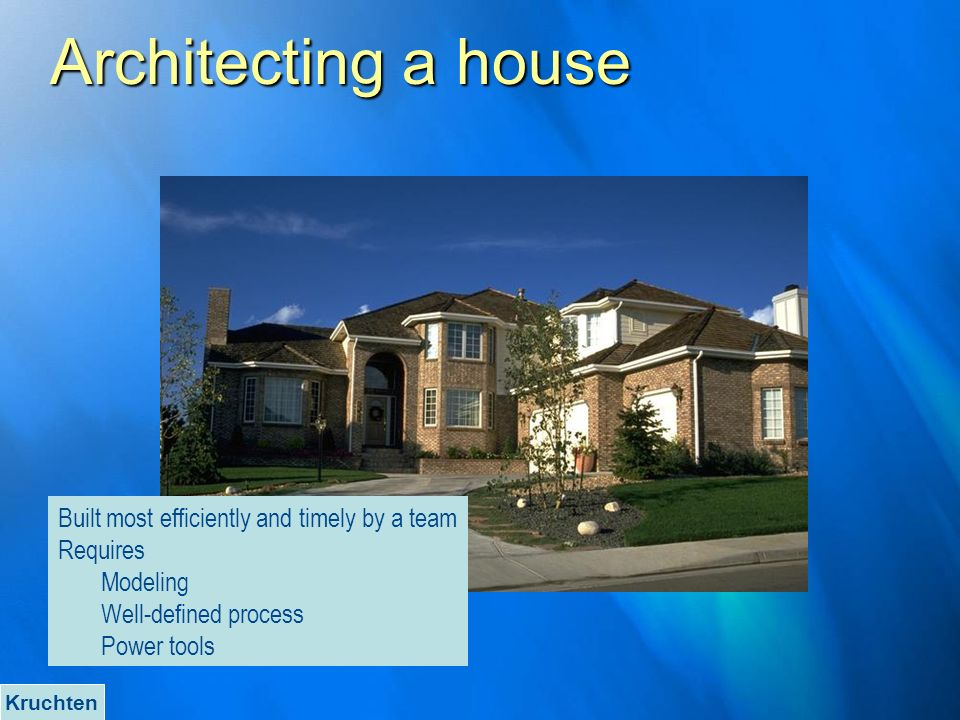 Architecting a house Built most efficiently and timely by a team Requires Modeling Well-defined process Power tools Kruchten