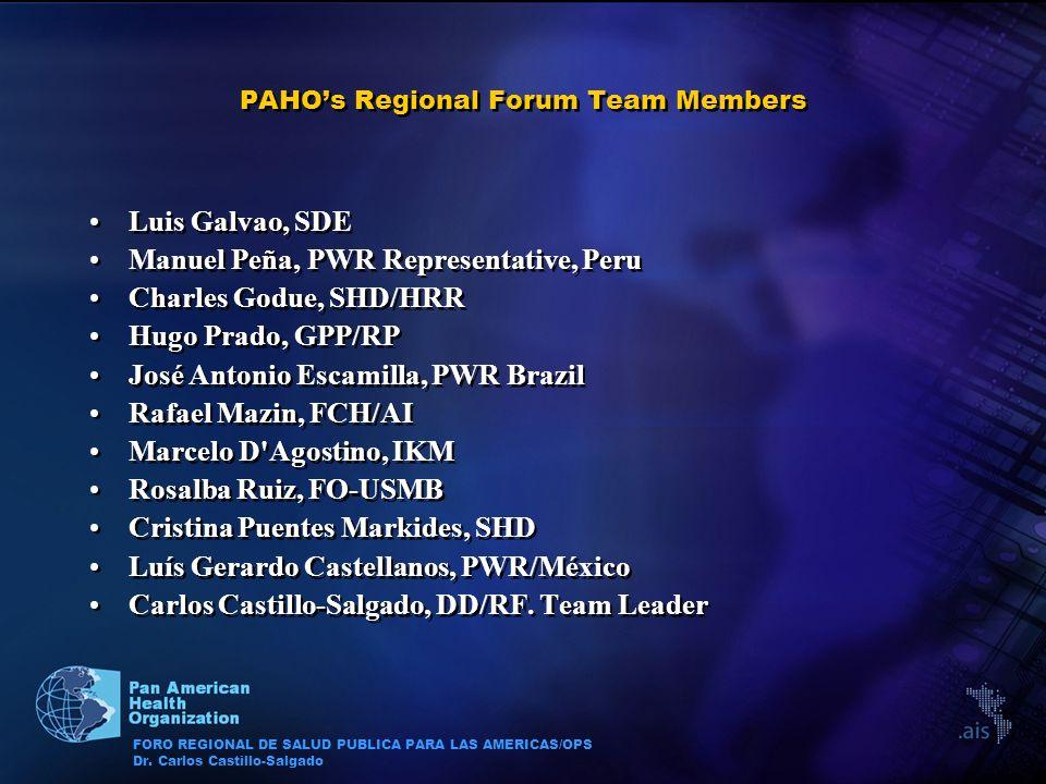 FORO REGIONAL DE SALUD PUBLICA PARA LAS AMERICAS/OPS Dr. Carlos Castillo-Salgado PAHOs Regional Forum Team Members Luis Galvao, SDE Manuel Peña, PWR R
