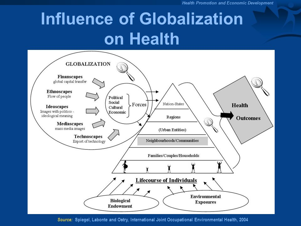 Health Promotion and Economic Development Influence of Globalization on Health Source: Spiegel, Labonte and Ostry, International Joint Occupational Environmental Health, 2004