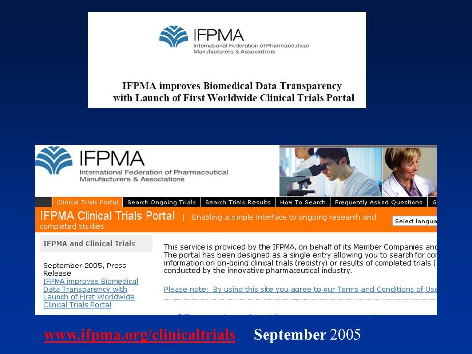 www.ifpma.org/clinicaltrialswww.ifpma.org/clinicaltrials September 2005