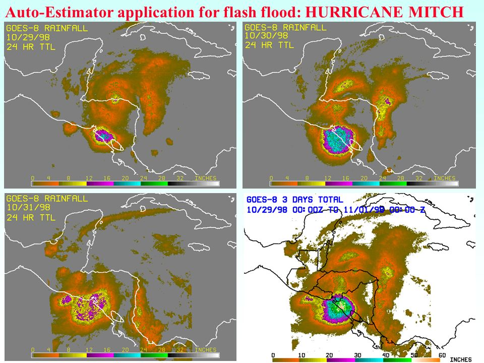 II International LBA Scientific Conference – Gilberto Vicente, 07/02, Manaus COMPUTE SATELLITE RAINFALL RATE IN 1 X 1 DEGREE GRID -10% < ERROR < +10% ERROR +10% T = T - 1 T = T + 1 EXIT Auto-Estimator real-time adjustments with ground information