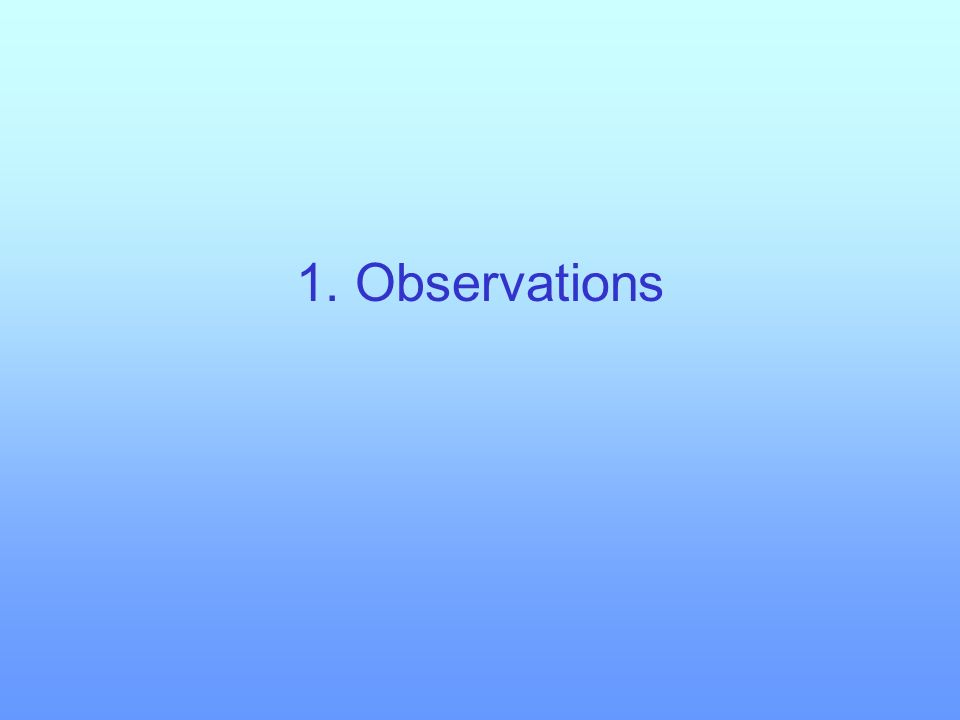 1. Observations 2. Internal controls on convection 3. External controls on convection