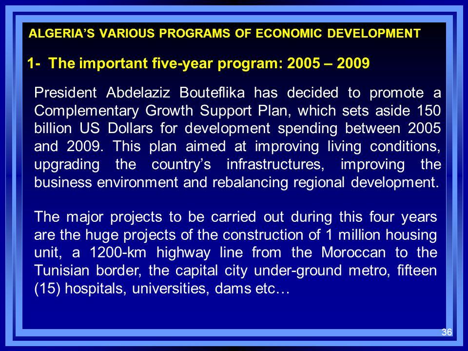 ALGERIAS VARIOUS PROGRAMS OF ECONOMIC DEVELOPMENT 1- The important five-year program: 2005 – 2009 President Abdelaziz Bouteflika has decided to promot