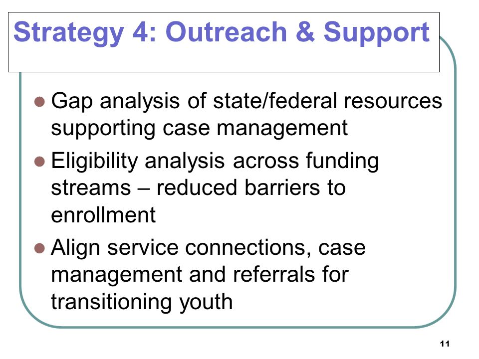 11 Strategy 4: Outreach & Support Gap analysis of state/federal resources supporting case management Eligibility analysis across funding streams – red