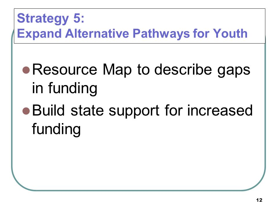 12 Strategy 5: Expand Alternative Pathways for Youth Resource Map to describe gaps in funding Build state support for increased funding