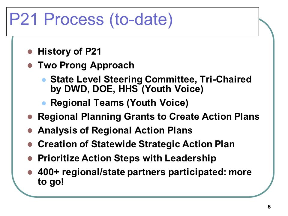 5 P21 Process (to-date) History of P21 Two Prong Approach State Level Steering Committee, Tri-Chaired by DWD, DOE, HHS (Youth Voice) Regional Teams (Y