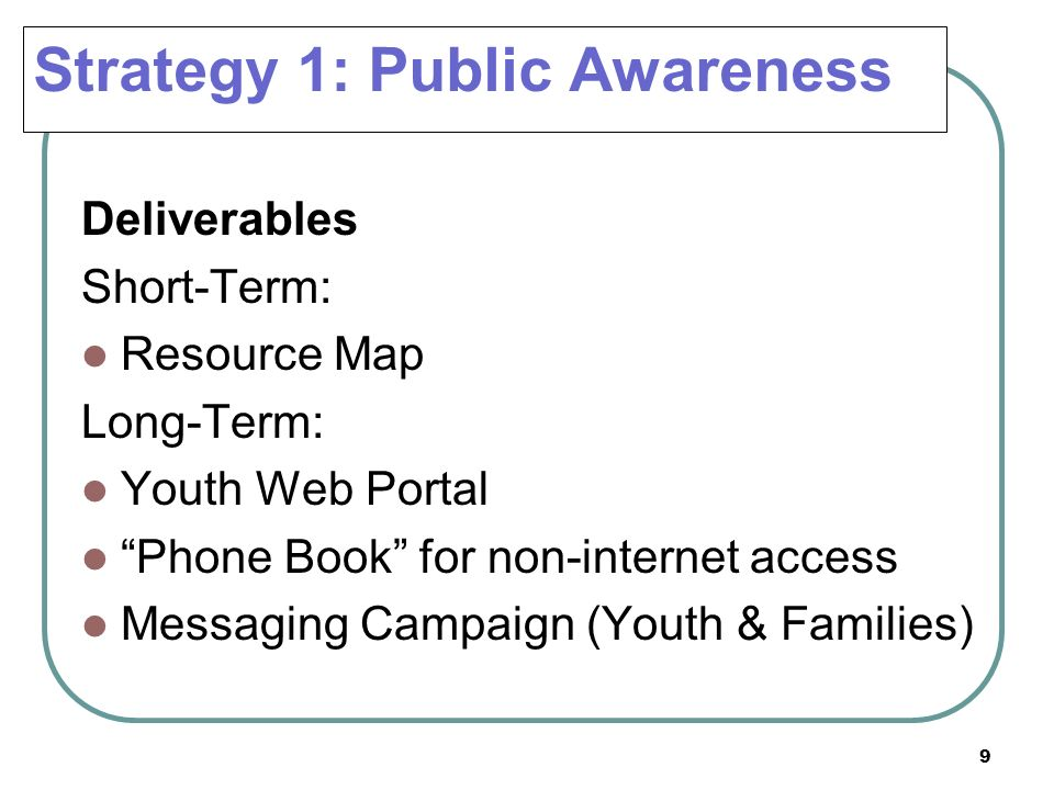 9 Deliverables Short-Term: Resource Map Long-Term: Youth Web Portal Phone Book for non-internet access Messaging Campaign (Youth & Families) Strategy