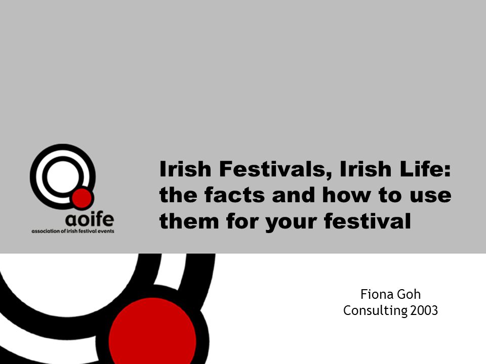 Irish Festivals, Irish Life: the facts and how to use them for your festival Fiona Goh Consulting 2003