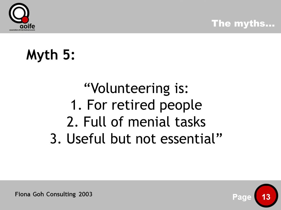 The myths... Page 13 Myth 5: Volunteering is: 1. For retired people 2.