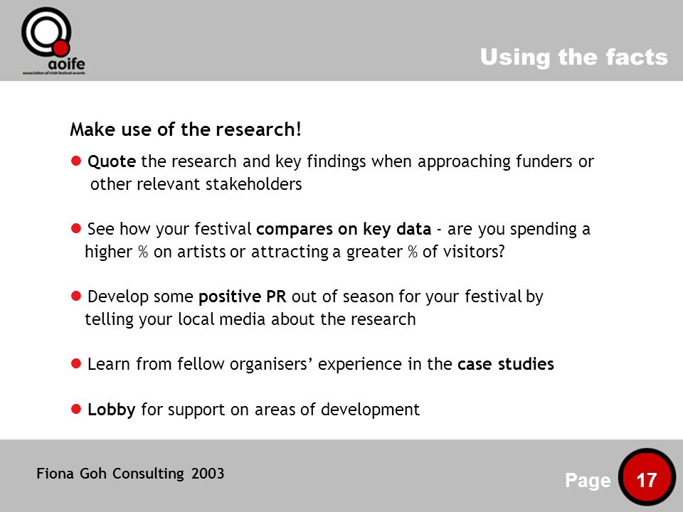 Using the facts Page 17 Make use of the research.