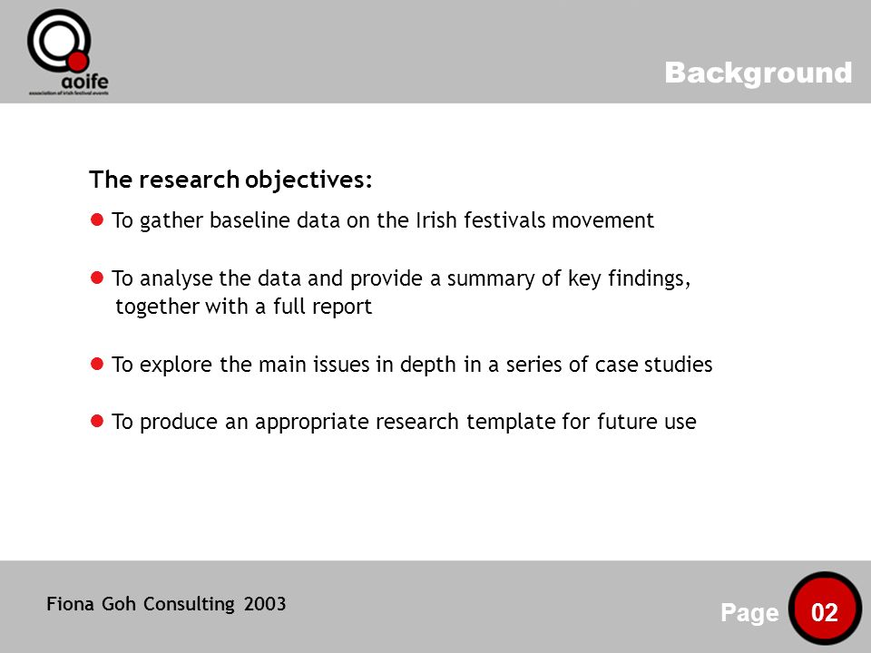 Background Page 02 The research objectives: To gather baseline data on the Irish festivals movement To analyse the data and provide a summary of key findings, together with a full report To explore the main issues in depth in a series of case studies To produce an appropriate research template for future use Fiona Goh Consulting 2003