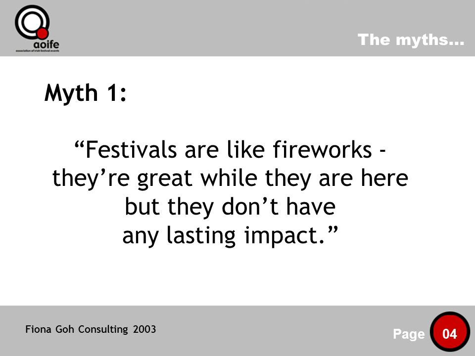 Volunteers: a key festivals resource Page 15 Fiona Goh Consulting 2003