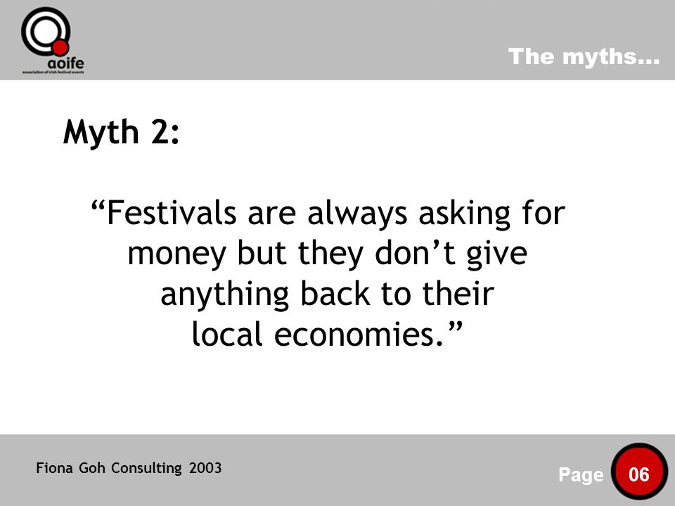 Irish festivals: community investors Page 07 Facts 2: The average festival audience is made up of 67% locals - the remaining 33% require overnight accommodation Festivals on average spend 69% of their total expenditure in their local area This represents a direct local investment of at least 8.9 million Community venues are the backbone of festivals; two thirds of festival organisers use churches, pubs, outdoor public spaces, or community halls for their events Fiona Goh Consulting 2003