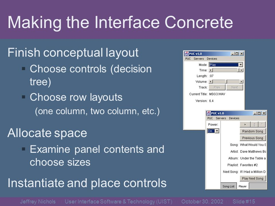 Jeffrey Nichols User Interface Software & Technology (UIST) October 30, 2002 Slide #14 Choosing Panel Types a)b)c)c) full screen tabbed partial screen