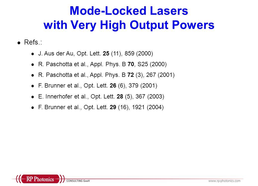 Mode-Locked Lasers with Very High Output Powers Refs.: J. Aus der Au, Opt. Lett. 25 (11), 859 (2000) R. Paschotta et al., Appl. Phys. B 70, S25 (2000)