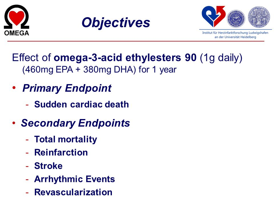 Objectives Effect of omega-3-acid ethylesters 90 (1g daily) (460mg EPA + 380mg DHA) for 1 year Primary Endpoint -Sudden cardiac death Secondary Endpoi