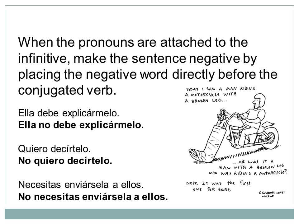 When the pronouns are attached to the infinitive, make the sentence negative by placing the negative word directly before the conjugated verb. Ella de