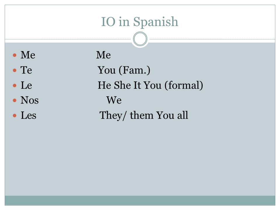 IO in Spanish Me Me Te You (Fam.) Le He She It You (formal) Nos We Les They/ them You all