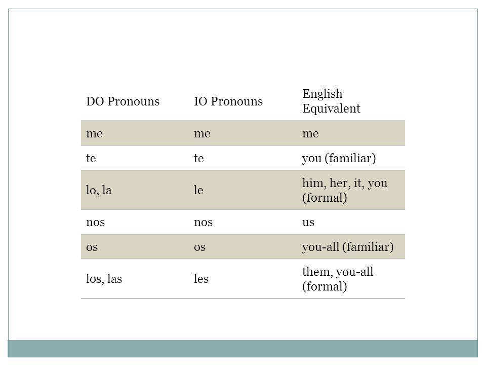 DO PronounsIO Pronouns English Equivalent me te you (familiar) lo, lale him, her, it, you (formal) nos us os you-all (familiar) los, lasles them, you-