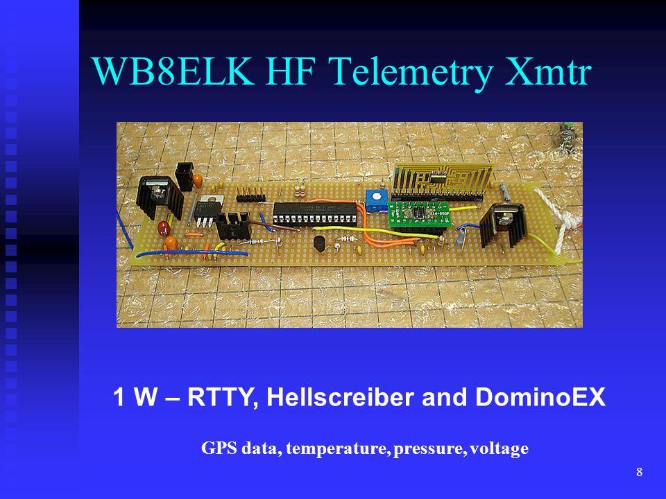 8 1 W – RTTY, Hellscreiber and DominoEX WB8ELK HF Telemetry Xmtr GPS data, temperature, pressure, voltage