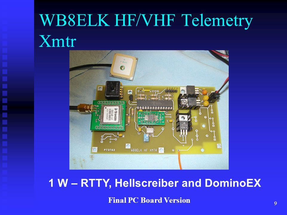 9 1 W – RTTY, Hellscreiber and DominoEX WB8ELK HF/VHF Telemetry Xmtr Final PC Board Version