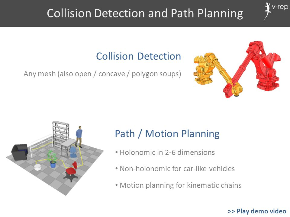 Collision Detection and Path Planning Path / Motion Planning Any mesh (also open / concave / polygon soups) Collision Detection Holonomic in 2-6 dimen