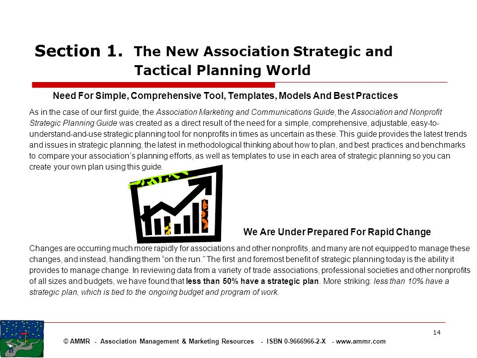© AMMR - Association Management & Marketing Resources - ISBN 0-9666966-2-X - www.ammr.com 14 Section 1. The New Association Strategic and Tactical Pla