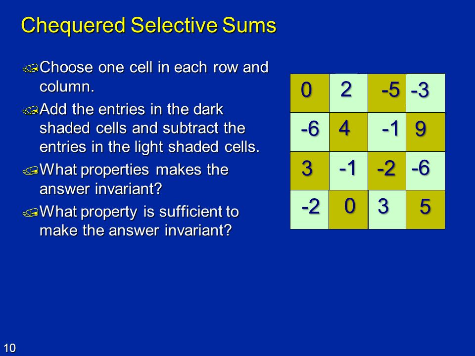 10 Chequered Selective Sums Choose one cell in each row and column. Choose one cell in each row and column. Add the entries in the dark shaded cells a
